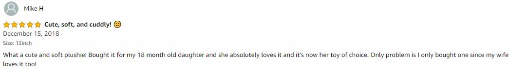 Mike H 5 star reviews on Toffy Panda Bear 13inch Plush toy