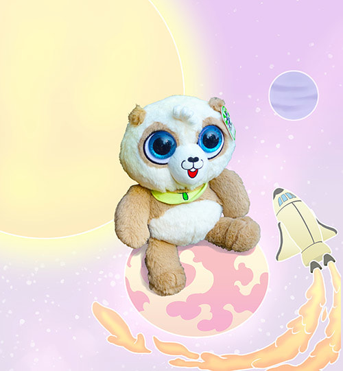 cute panda bear stuffed animal in space